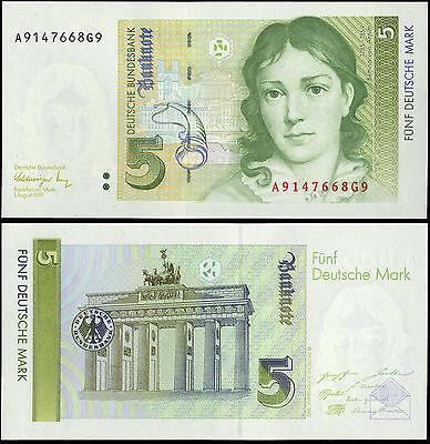 Germany Federal Republic Paper Money 5 Marks 1991 P-37 UNC Brandenburg Gate