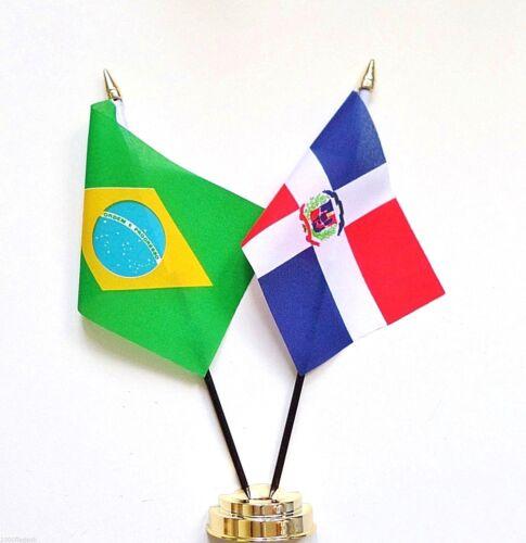 Brazil & Dominican Republic Double Friendship Table Flag Set