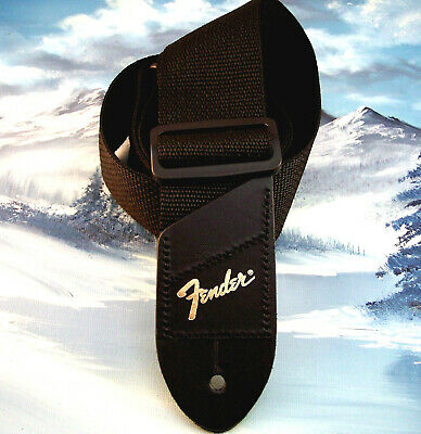 GUITAR STRAP ~ GENUINE FENDER ~ BLACK w/ GOLD LOGO
