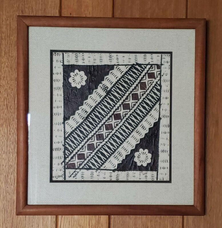 Vintage Polynesian Tapa Bark Cloth Framed Art Pair Hawaii Pacific Islands Match