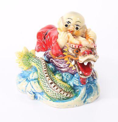 Feng Shui Zodiac Monk Riding a Dragon Statue Figurine Wealth Luck Gift US Seller