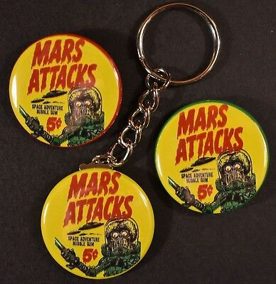Set of Three 1962 Topps Mars Attacks Wrapper Keychain 2 Strong Magnets