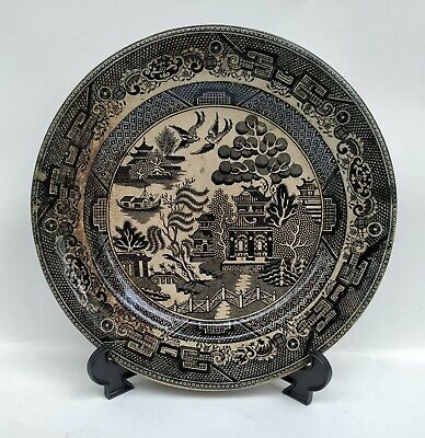 Black Willow Pattern Transferware Plate Warranted Staffordshire I.C. & Co. ()