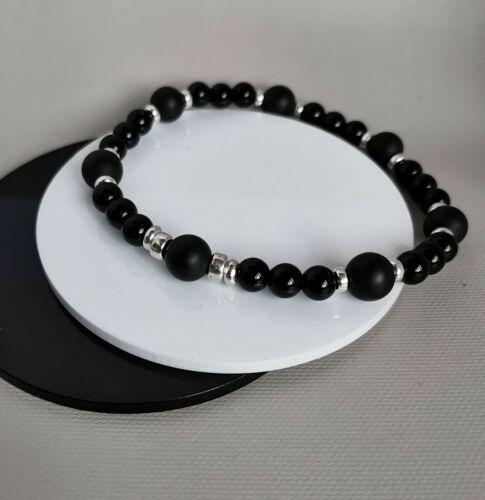 Mens+925+Sterling+Silver+stretch+Gemstones+classic+Bracelet+black+Onyx