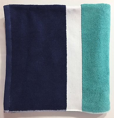 "POTTERY BARN Color Block 28 x 55"" Bath Pool Beach Towel, POOL/NAVY, NEW"