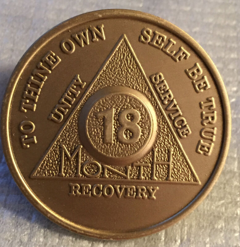 Bronze 18 Month AA Coin Medallion Alcoholics Anonymous Serenity Prayer Triangle