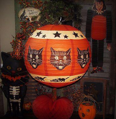 "Bethany Lowe Old Tyme 17"" Sassy Fraidy Black Cat Halloween Paper Lantern"