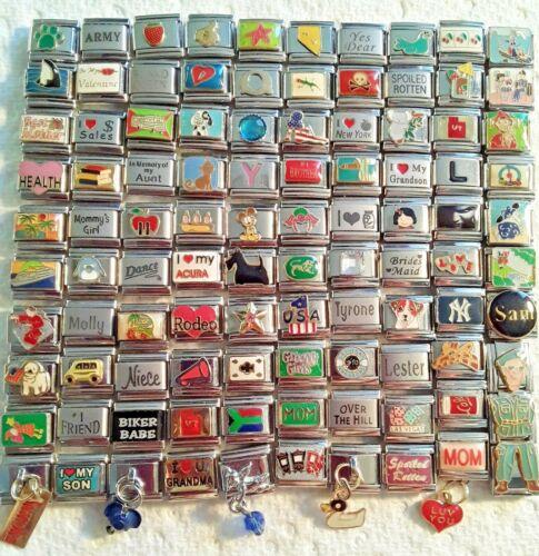 100 Piece ITALIAN  CHARMS 9mm lot # 468 No duplicates -FREE SHIPPING
