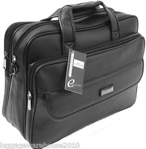 Mens Black Laptop Bag Messenger Briefcase Business Work Bag Leather Feel Matt