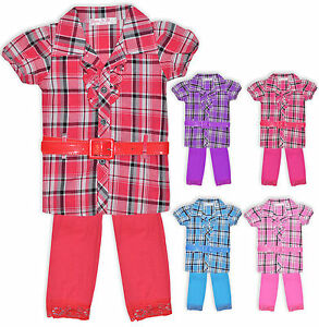 Girls-Check-Shirt-Top-Dress-And-Legging-Set-Kids-Outfit-New-Age-2-12-Years