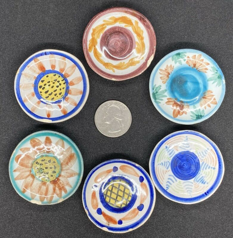 "ANTIQUE SET of 6 Henriot QUIMPER HB France 2"" Miniature Dollhouse Plate/Plates"