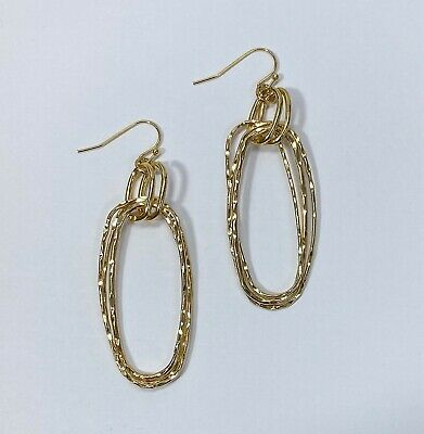Gold Finished Hammered Multi Oval Shapes Connected Drop Dangle Hook Earrings Hammered Gold Oval Earrings