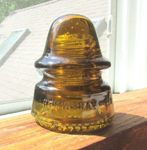 GREAT GOLDEN AMBER CD 162 HEMINGRAY SIGNAL STYLE GLASS INSULATOR (37)