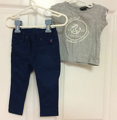 infant girls pants and top set size 12 months NAUTICA blue gray 70