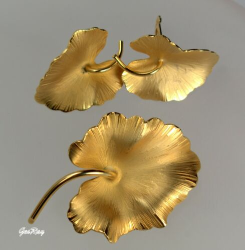 Giovanni Statement Vintage Jewelry Gold Leaves Brooch Earrings, Giovanni Cerrito