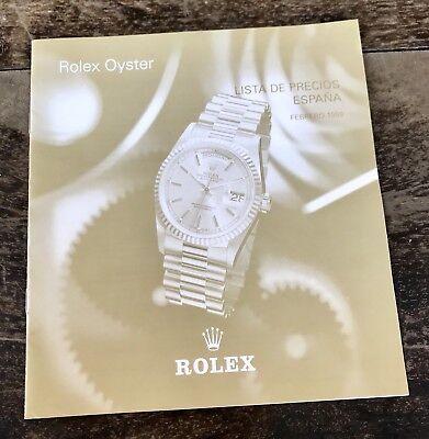 ROLEX Price List 1999 Spain Daytona Zenith 16518 16520 16523 16528 16600 16700