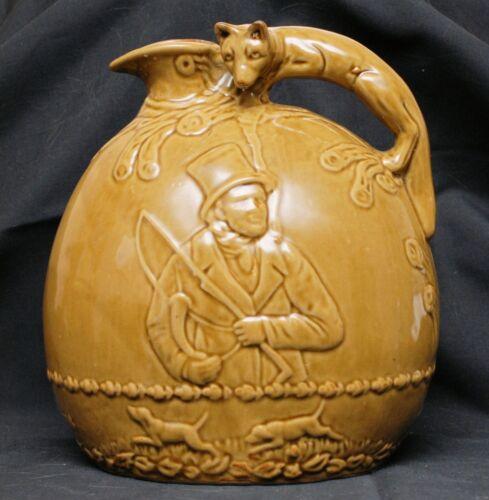 Rockingham Pottery Pitcher, Fox Hunt with Fox Handle