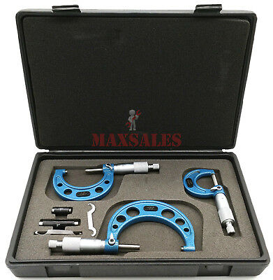 3 Pc Micrometers Set 0-3 Inch Outside Micrometers Set Increments 0.001 W Case