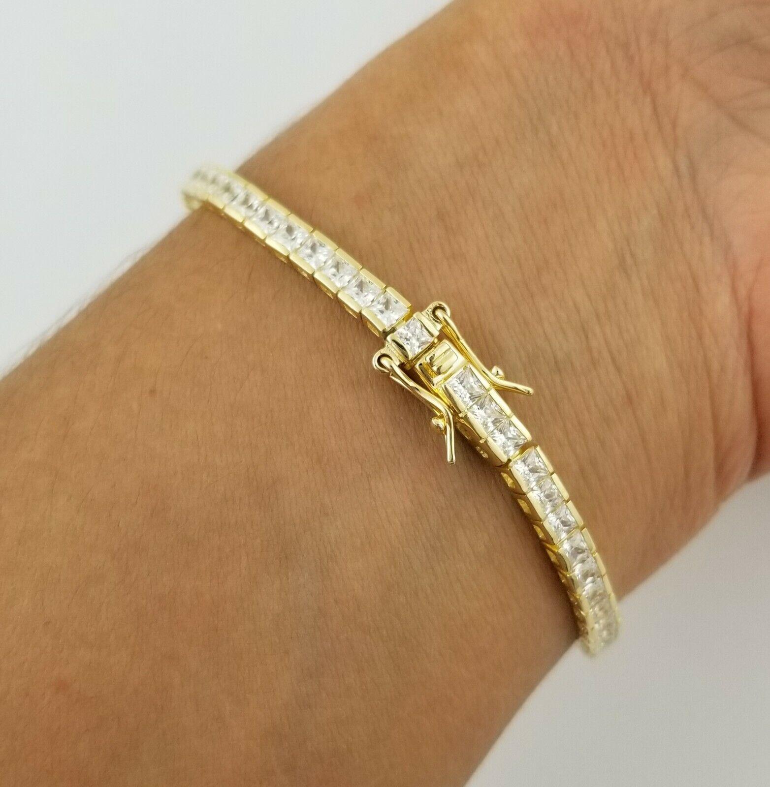 "14K Yellow Gold Over Sterling Silver Princess Diamond 7"" Tennis Bracelet"