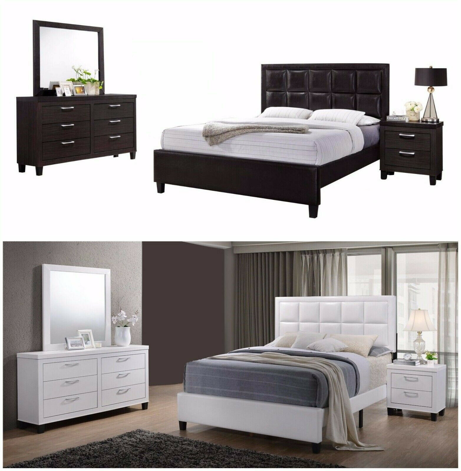 New 4pc Wood With Faux Leather Bedroom Set Queen Bed Nightstand Mirror Dresser