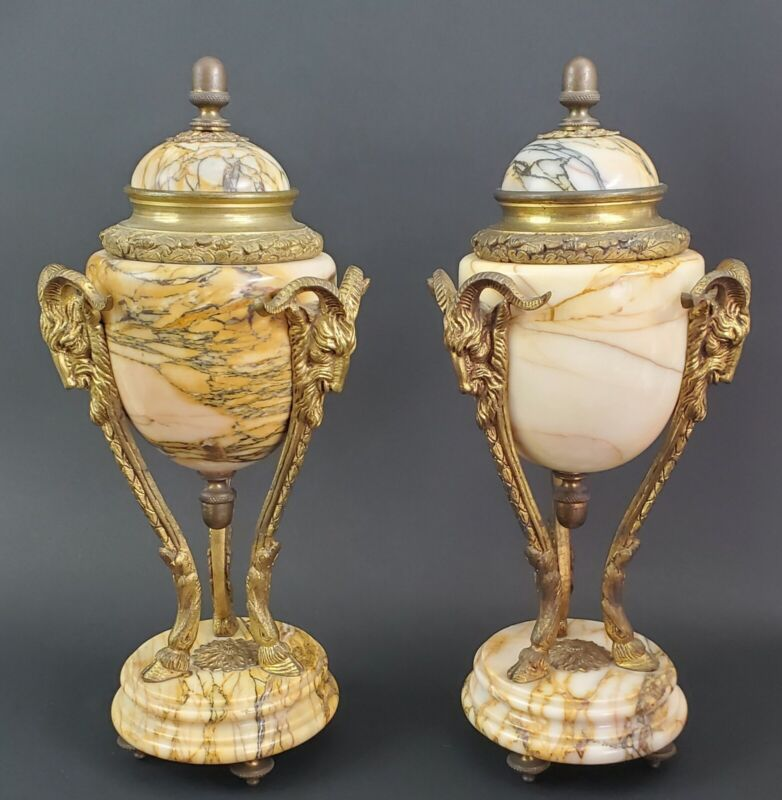 LARGE HEAVY 19TH Century French Marble Urns Vases Bronze Rams Cassolettes