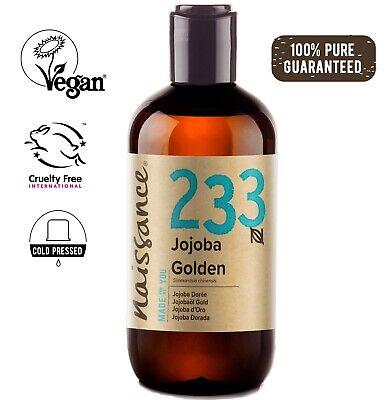 Olio di Jojoba d'Oro 250ml puro al 100% Pressato a Freddo, Vegan, Naturale