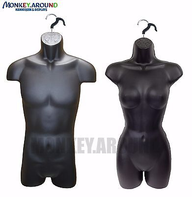 Lot 2 Mannequin Male Female Hanger Form Display Dress Clothing Shirt - Black