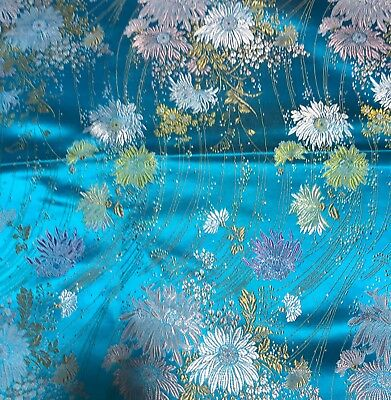 Turquoise Brocade (Turquoise Daisy Floral - Faux Silk Brocade Fabric )