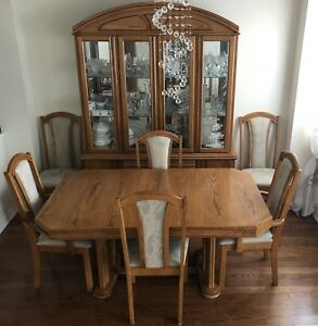 Rectangular oak table with six chairs dining set