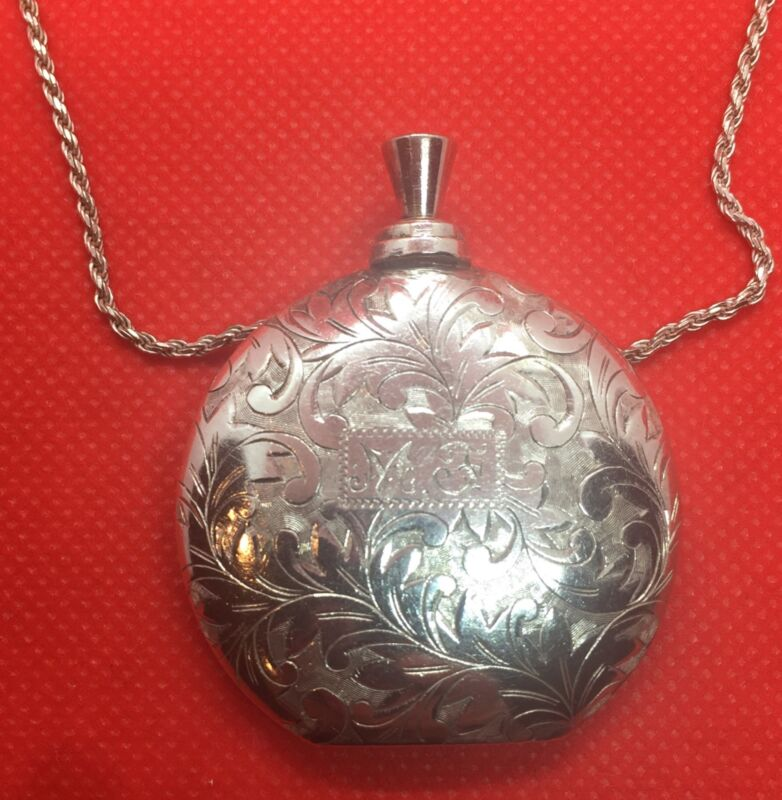 Sterling Silver 950 Perfume Bottle Pendant / Necklace