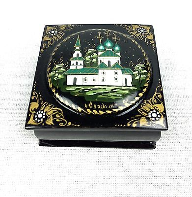 Russian Lacquer Box / Signed / Lacquered Collectable Vintage Church