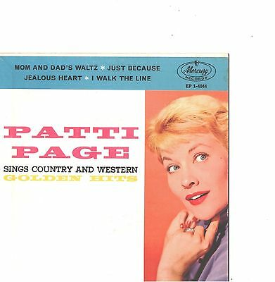 PATTI PAGE--4-SONG HARD COVER-EP--(SINGS COUNTRY/WESTERN)--PS--PIC--SLV (Pic 4 Song)