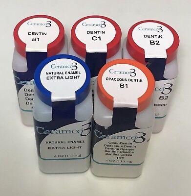 Dentsply Ceramco 3 C1 B1 B2 Dentin Opaceous Dental Lab Porcelain Extra Light 4oz