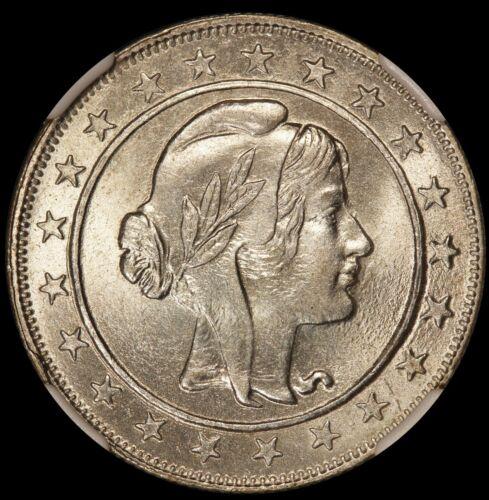 1924 Brazil 2000 Reis Silver Coin - NGC MS 64 - KM# 526