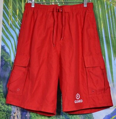 BURNSIDE Men's Red Guard Swim Board Shorts Medium Elastic Waistband Lined