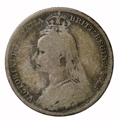 Great Britain 1893 Jubilee Head Silver Sixpence Queen Victoria Coin Key Date