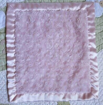 Blankets and Beyond Pink Fluffy Swirls w Satin Backing Baby Girl Security Lovey