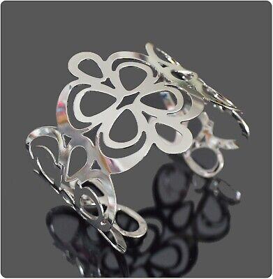 XL Armband Breit Armreif Metall Armspange Manchette Blumen Orientalisch Silber F