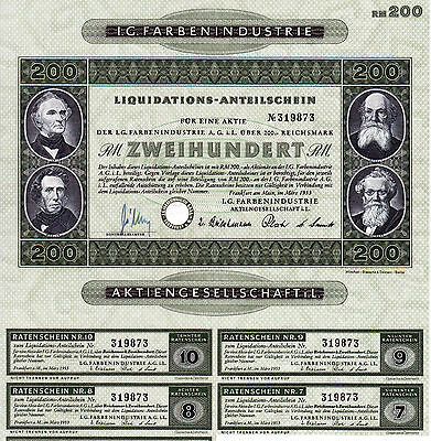 BRD Historisches Wertpapier Aktie IG Farben Liquis AG 200 RM Reichsmark 1953