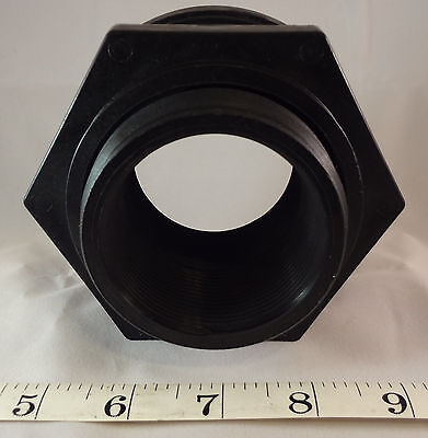 Threaded Bulkhead - 2 Inch Bulkhead Fitting, Threaded, Rain Barrel, Aquarium,Koi Pond Thread TF200PE