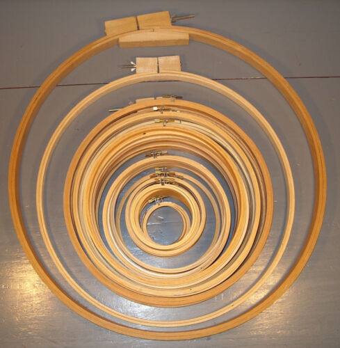 """43 WOODEN EMBROIDERY HOOPS 22"""" TO 3"""" LOT H"""