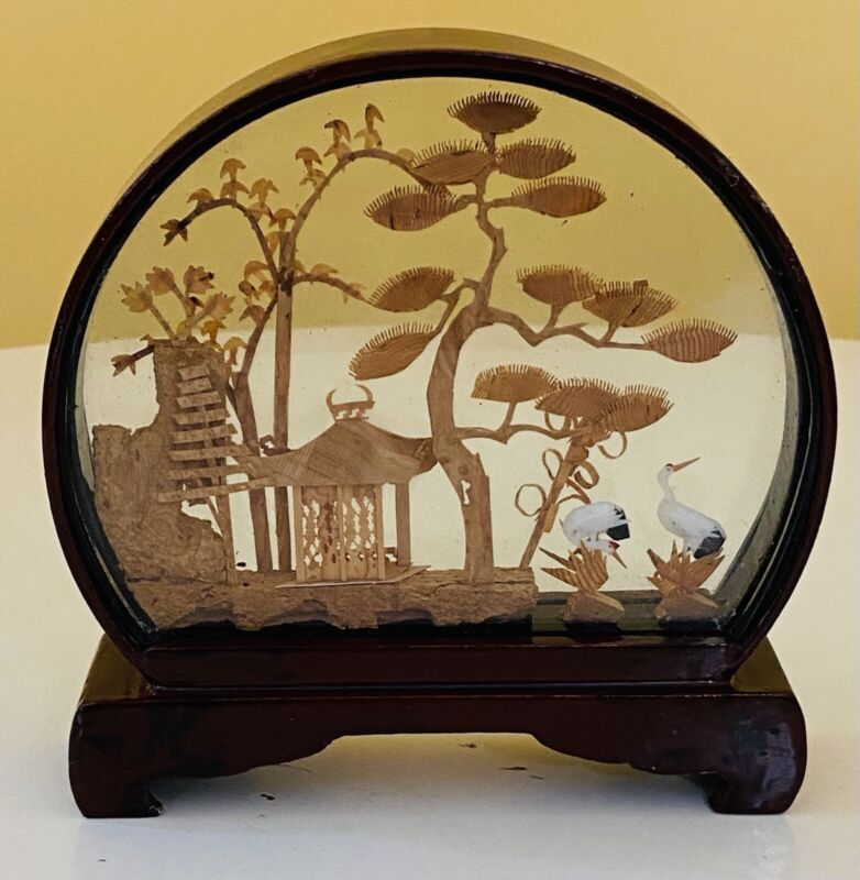 Vntg Arch Chinese Cork Carving Art Diorama Pagoda Trees Crane Asian Red Lacquer