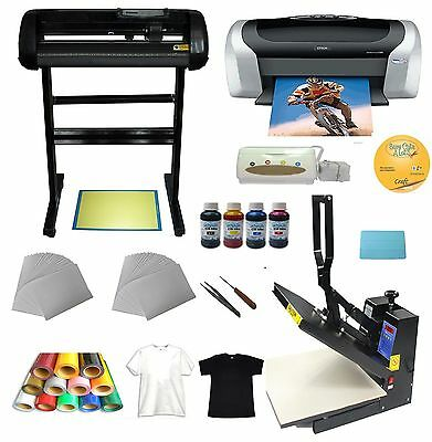 Heat Press 24 Cutter Plotter Printer Ink Paper T-shirt Transfer Start-up Kit