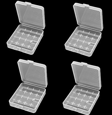 4 Pcs Clear White Plastic Storage Battery Box Holder Case for 4x 18650 Batteries