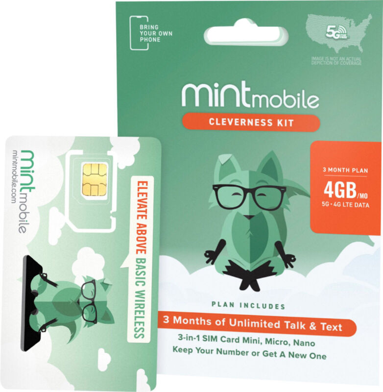 Mint Mobile 3 month Wireless Service Plan 4GB DATA On 4G LTE And 5G