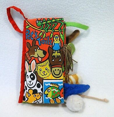 Little Jellycat Pet Tails Book Fabric Cloth Plush Sensory Crinkle Texture