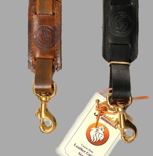 black leather guitar strap frankenstrap w brass