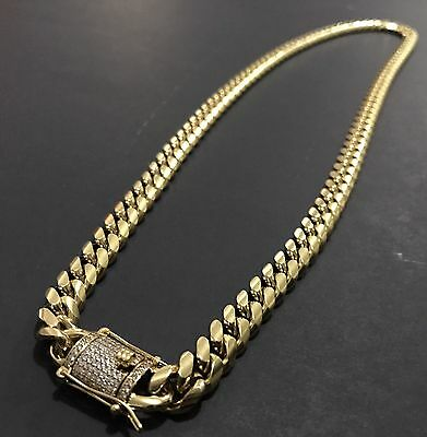 Men Cuban Miami Link Chain Stainless Steel 18k Gold Plated 10mm 28""