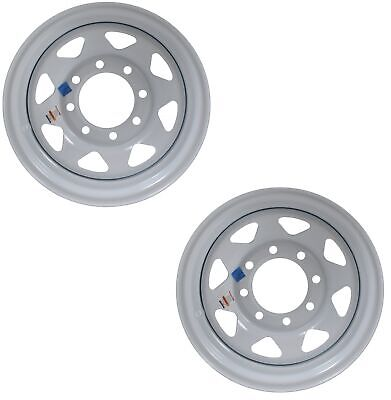 2-Pk Trailer Rims 16x6 in. 8 Bolt Hole 6.5 in.OC White Spoke Steel Wheel