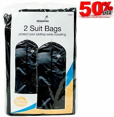 2 Dress Bags Cover Wedding Garment Clothes Storage Carrier Hanging Suit Coat Bag